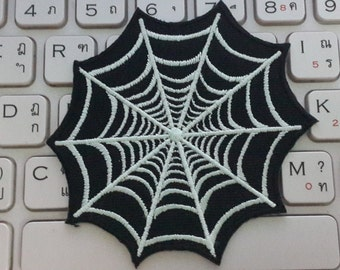 Cobweb Iron on Patch - Cobweb Applique Embroidered Iron on Patch