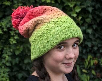 Hyper Real oversized bobble hat knitting pattern