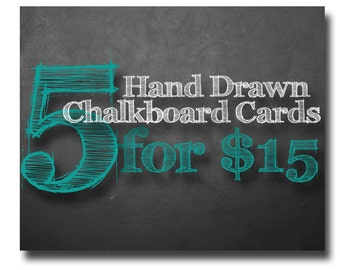 Greeting Card Set Handmade Card Sets Chalkboard Card Note Cards Greeting Card Set Chalkboard Art Chalkboard Card Unique Chalk Art Homemade