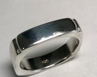 Sterling Silver 4.8 mm Square Shape Band