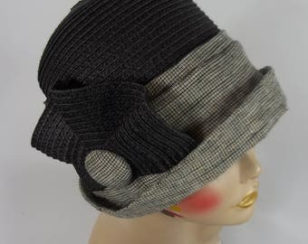 Straw, linen, cloche hat, 1920s, Art Deco, designer, black, gray, church hat, vintage style, church hat, size S, M, L. Free shipping in USA