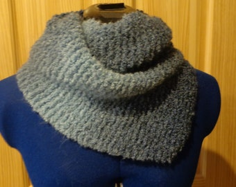 Hand knit blue ombre twisted cowl
