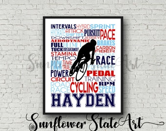 Personalized Bicycling Poster Typography, Bicycling Gift, Bicyclist Gift, Custom Bicycler, Gift for Bicyclist, Gift for Bicycler