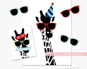 Pin the Sunglasses on the Giraffe Printable | Animal Party Game | Zoo Party Game | Safari Party Game - INSTANT PDF DOWNLOAD