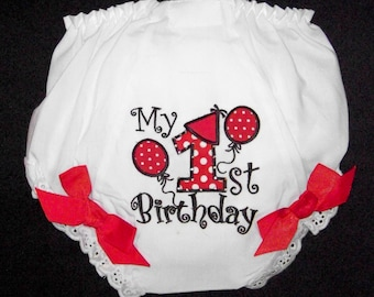 1st Birthday Diaper Cover / Red & Black / Bloomers / Birthday Party / Cake Smash / Infant / Baby / Girl / Toddler / Custom Boutique Clothing