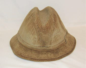 Vintage Tan Corduroy Water Resistant Crushable Hat Size Large 7 1/4 - 7 3/8