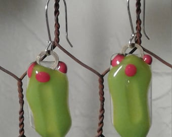 Holly Holiday red green dangles earrings