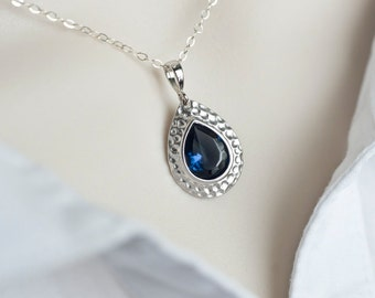 Blue Sapphire Necklace, Matte Rhodium Plated Sapphire Blue Glass Teardrop Necklace, Sterling Silver, Wedding Jewelry