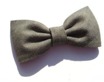 Green Sage Herringbone Tweed Bow Tie, Men's Sage Herringbone Bow TIe