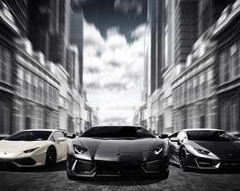 Lamborghini Huracan Murcielago Art Print Wall Decor Self-Adhesive - Wallpaper Sticker