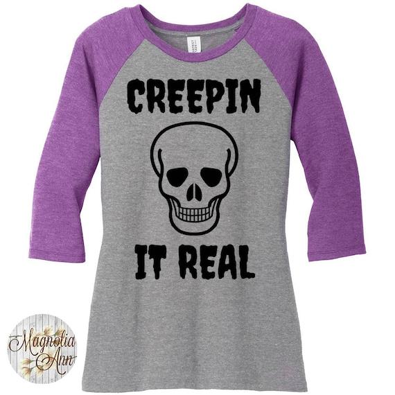 Creepin It Real, Skull Head, Halloween, Women's Baseball Raglan 3/4 Sleeve Shirt in Sizes Small-4X, Plus Size Clothing, Plus Size Halloween
