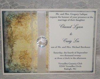 Lace Wedding Invitations Clara Collection French Market Elegant, Shabby Chic, Vintage Inspired, Haute Couture Invitations