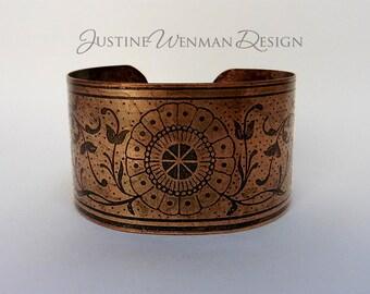 Copper Cuff Etched w/ Daisy Motif, Vines, Stylized Delicate Lines, Antiqued, Symmetric, Woman's Bracelet