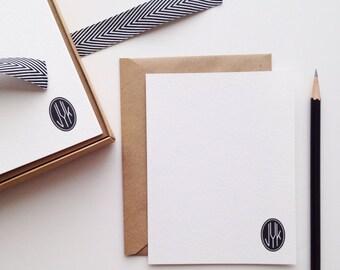 Black Oval Monogram Flat Card Set