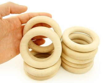 3 inch -  Set of 10 Natural Eco Toy Organic Wooden Teething Ring