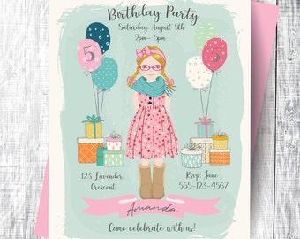 Personalized Birthday Invitation/Card/Portrait - Printable Art, Digital Download, Custom Illustration