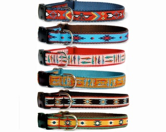 Dog collar leash Boho Tribal  Aztec Navajo Native American influenced girl boy large small dog collar  Personalized buckle can be added