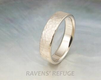matte wedding band with hammered design -- 6mm wedding ring in 14k palladium white gold