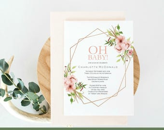 Baby shower invitation etsy oh baby shower invitation template girl baby shower invitation printable floral invitation instant filmwisefo Choice Image