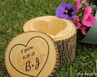 Customizable Names/Date Jewelry Box Extra Deep Personalization Organizer Gift Rustic Log