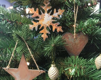 "Rusted Metal Christmas Ornament Gift Set - STAR, SNOWFLAKE, HEART - 4"" tall …"