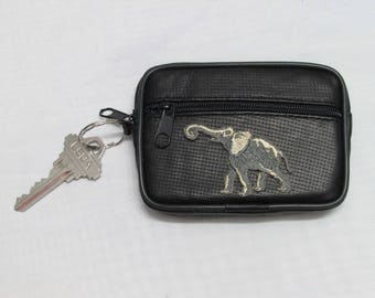 Elephant Embroidery Perforated Leather Wallet, Coin Purse Key Ring, Change Purse, Leather Zip Wallet, Key Ring Wallet