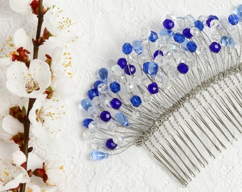 Blue hair comb Blue bridal headpiece Blue wedding hairpiece Blue wedding comb Blue crystal hair comb bridal Blue hair accessory Bridal comb