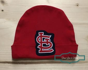St Louis Cardinals Baby Hat Made from St. Louis Cardinals Fabric, STL Baby, St Louis Baby, Baby Cardinals, Baby Shower Gift, New Baby Gift