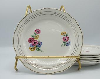 Dessert plates floral plates hand painted Digoin Sarreguemines, french vintage plates, vintage dinnerware set, cake plates,  ceramic plate