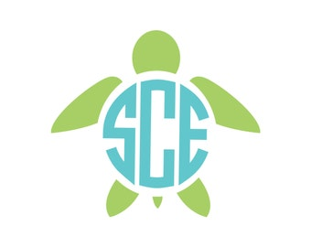 Turtle Monogram Vinyl Decal Icon - 2 Color - Choose from 14 colors in various sizes and fonts