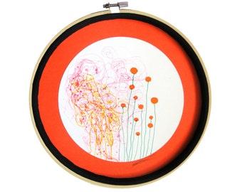 """Déco ronde : """"Le champs aux sentiments"""" dessin techniques mixtes, mandala, décoration originale, art intuitif, design cercle, pièce unique"""