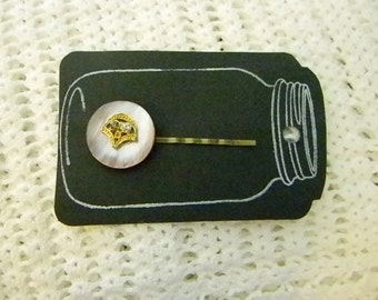 Vintage Button Adorned Bobby Pin