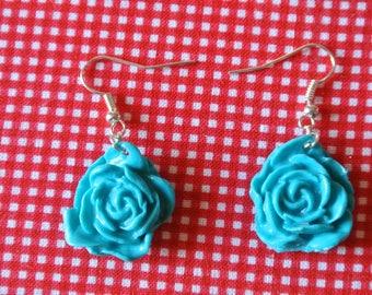 handmade Blue rose earring