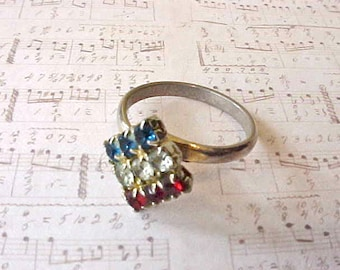 Little Red, White and Blue Costume Jewelry1950's Rhinestone Ring