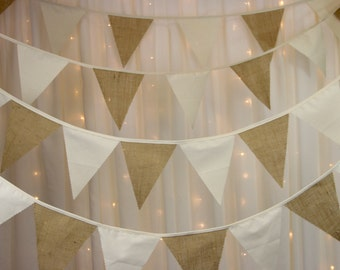 Burlap & Calico Wedding Bunting Banner Fantastic Flag to Flag Style 17ft 5mts 29 Flags A Wedding Must Burlap and Natural Calico.