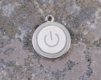 Power Up Pendant Only - Sterling Silver Plated, Recycled, MAC, Apple Computer, Power Button Necklace