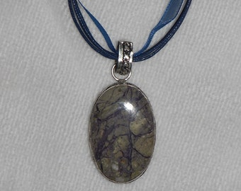 PAY IT FORWARD - Blue-Gray petrified wood pendant necklace (P062)