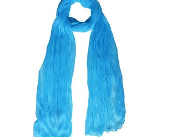 Romantic Turquoise Crinkle Scarf