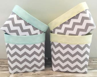 Chevron Storage Baskets (Pair) - Nappy Storage Nursery Decor Diaper Caddy Baby Shower Gift - Grey Mint Pink Blue Black Navy Mustard Red