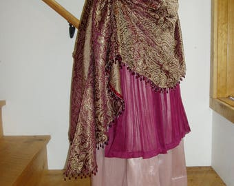 Burgundy and Gold Gypsy Pirate Steampunk Skirt