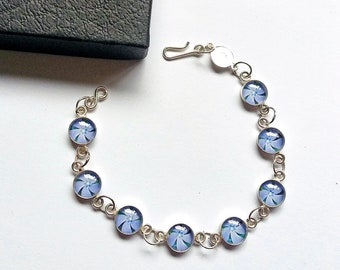 Blue Periwinkle Flower Bracelet, Sterling Silver, Powder Blue, Blue Flower Jewellery, Flower Girl Gift, Bridesmaid Gift, Pastel Blue
