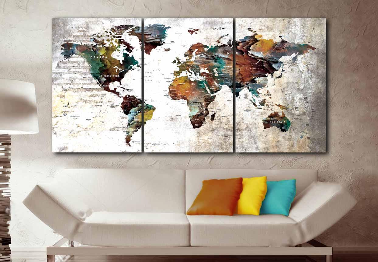 large world map artworld mapworld map wall artworld map canvasworld map push pinpush pin map art canvas printtravel map canvas