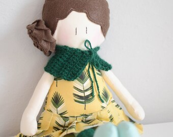Fabric Doll - Handmade doll with fancy cloth - Cotton doll - little girl doll - soft doll - Brown and braid hair doll