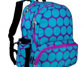 Personalized big dots backpack  book bag monogrammed embroidered school purple aqua