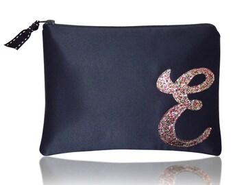 Personalised initial monogram glitter zip top clutch purse navy