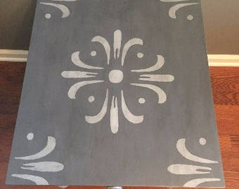 SOLD example-Painted, refurbished end table,gray painted furniture,painted side table