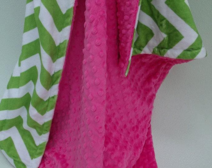 Apple Green Chevron and Fuchsia Dot Minky Baby Blanket for Baby Girl