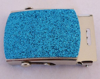 BLUE GLITTER on nickel finish Military Buckle to suit 32mm wide webbing x 1