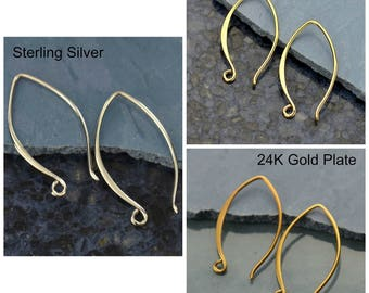 Sterling Silver, Small Marquis, Hook Ear Wire, Marquis Findings, Earring Findings, Marquis Ear Hooks, Silver Marquis, Silver Findings