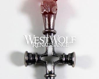 Viking Fenrir Wolf Cross Pendant --- Norse/Christian/Medieval/Silver/Jewelry/Odin/Geri/Freki